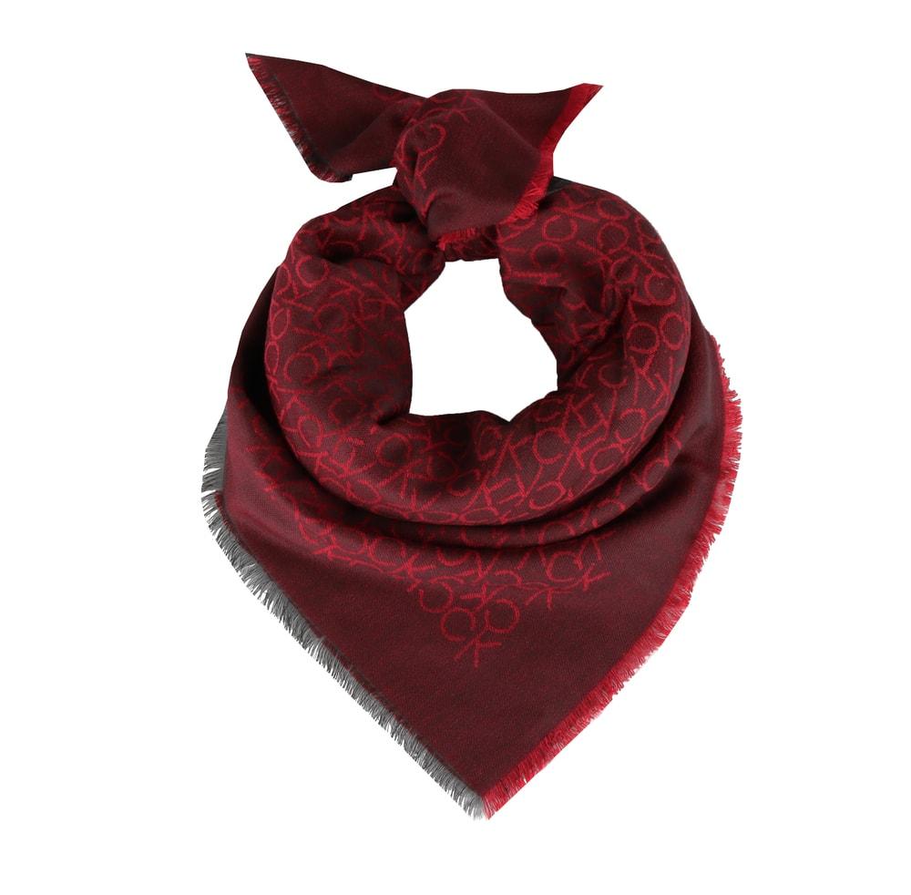 Calvin Klein Dámský čtvercový šátek Monogram Jaquard K60K604719 - vínová