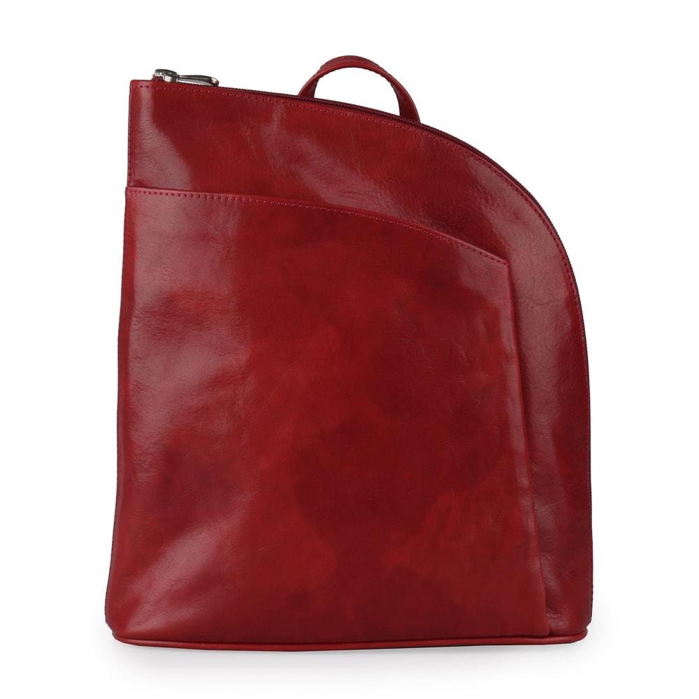 Sněžka Náchod Dámský kožený batoh 5114 - tmavě červená
