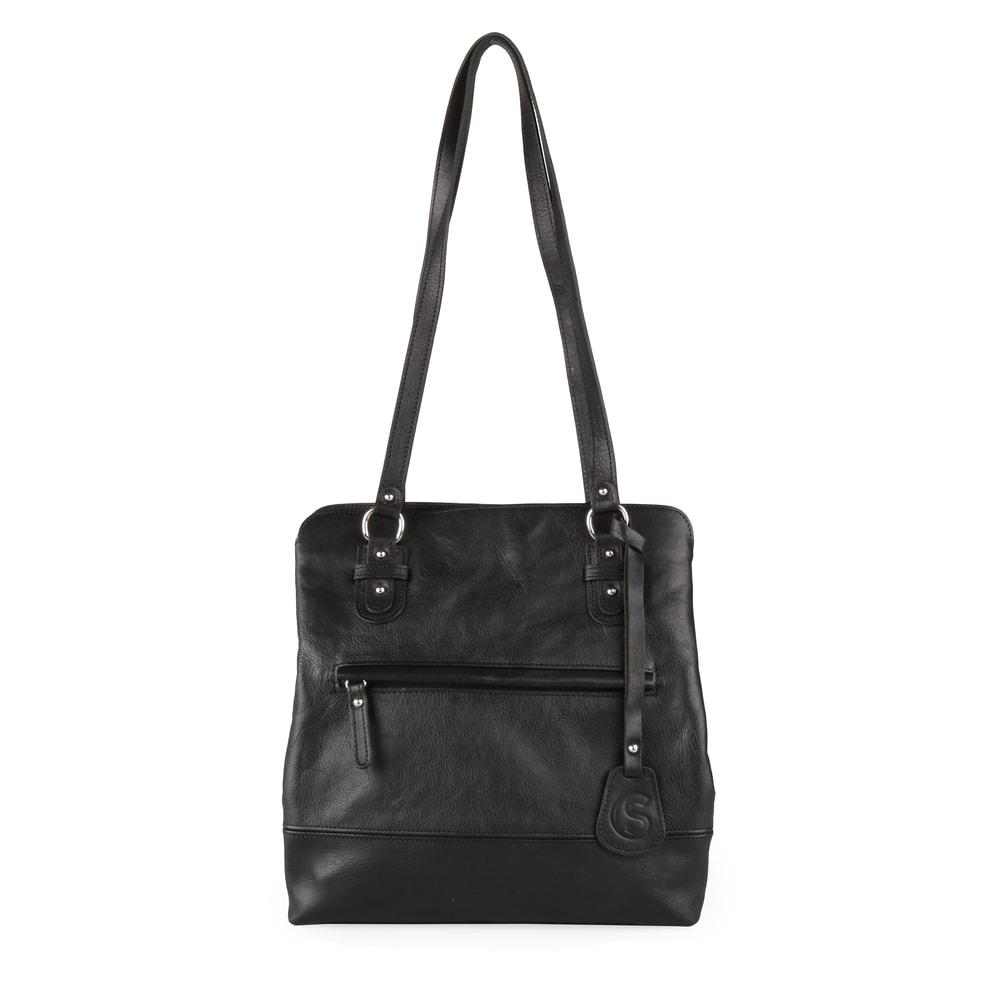 Sněžka Náchod Dámský kožený batoh/kabelka přes rameno 5095 - černá