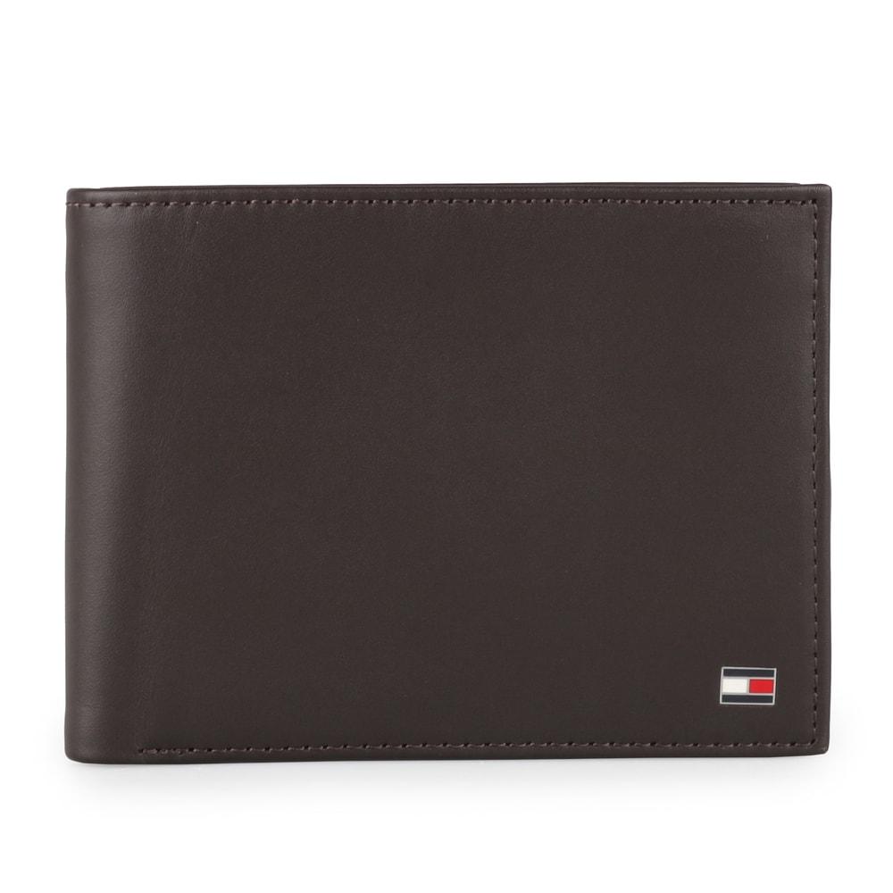 Tommy Hilfiger Pánská kožená peněženka Eton Cc Flap And Coin AM0AM00652 - tmavě hnědá