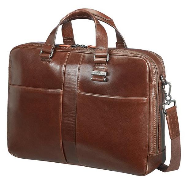 """Samsonite Kožená taška na notebook 15,6"""" West Harbor 70D-005, hnědá 70D-005-03-SAM"""