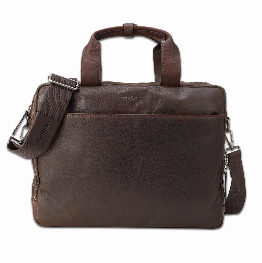 Strellson Pánská kožená taška do ruky Coleman 4010002309 - tmavě hnědá