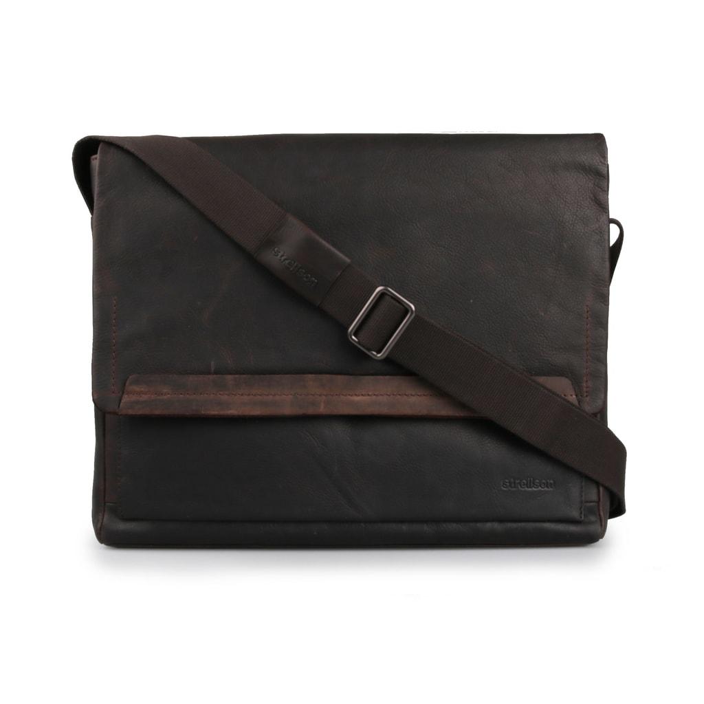 Strellson Pánská kožená taška přes rameno Camden 4010002281 tmavě hnědá