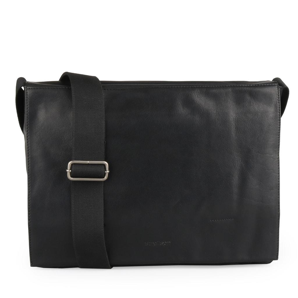 Strellson Pánská kožená taška přes rameno Coleman 4010002311 - černá