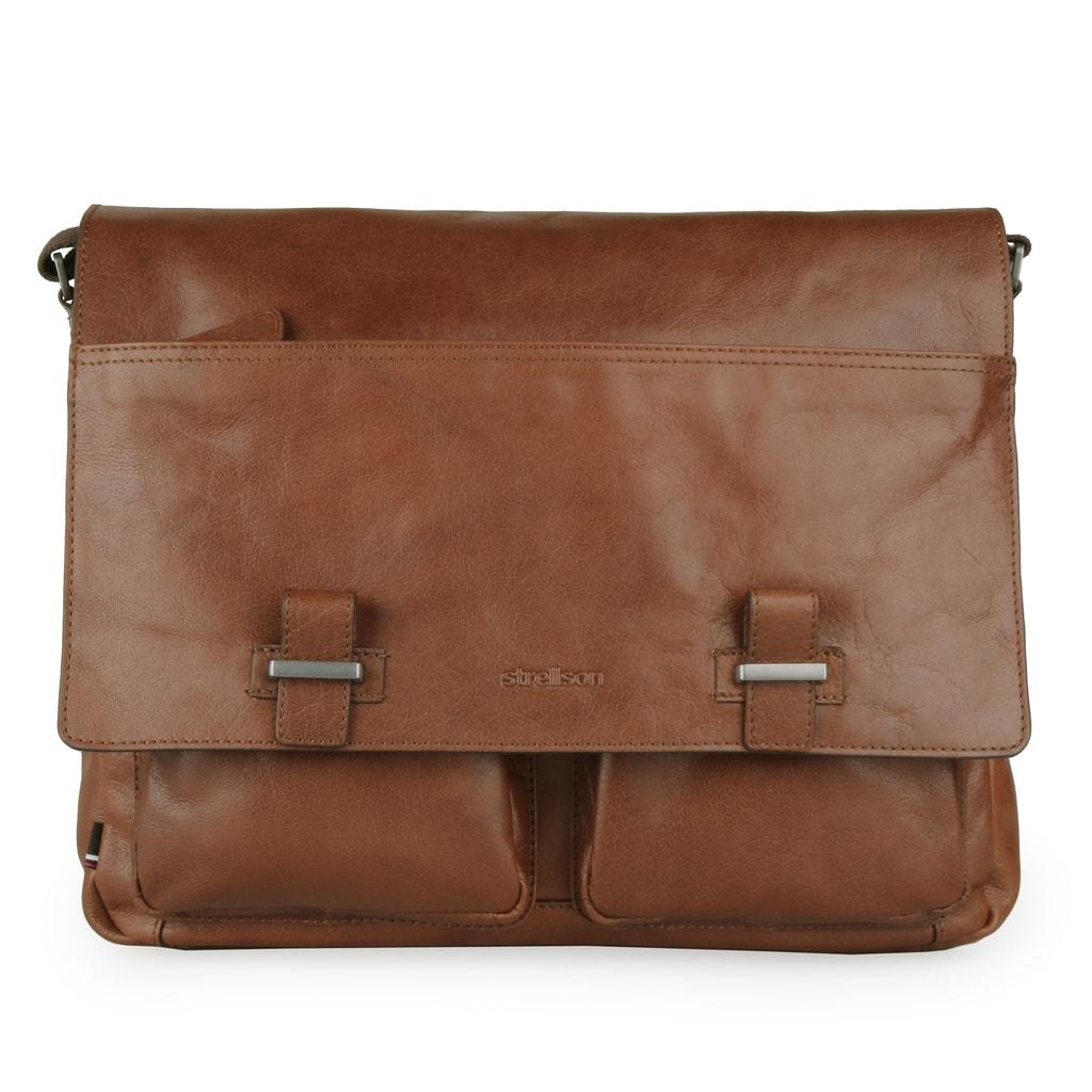 Strellson Pánská kožená taška přes rameno Sutton 4010002573 - koňaková