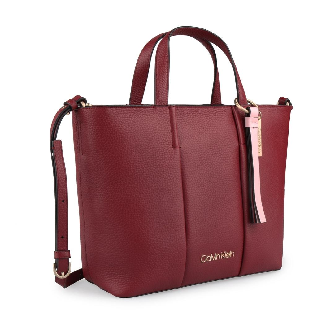 Calvin Klein Dámská kožená kabelka City Medium K60K604478 - tmavě červená