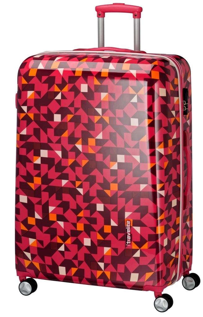 Travelite Velký cestovní kufr Campus Hardshell 102 l P38354 růžová, červená