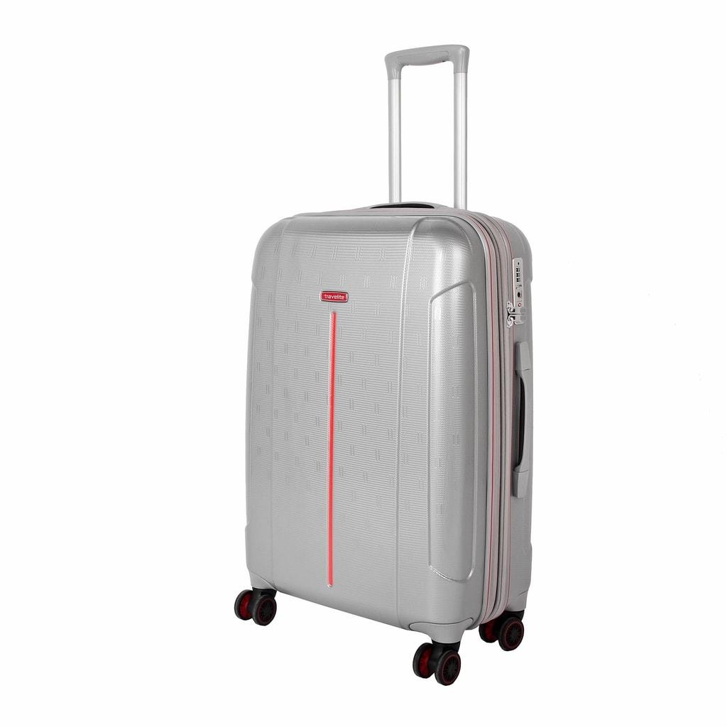 Travelite Cestovní kufr Echo M Silver 73448-56 75/87 l