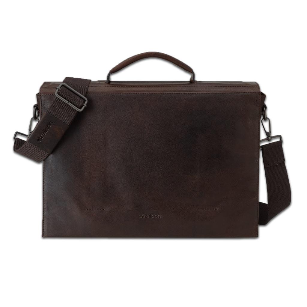 Strellson Pánská kožená taška přes rameno Coleman 4010002310 - tmavě hnědá