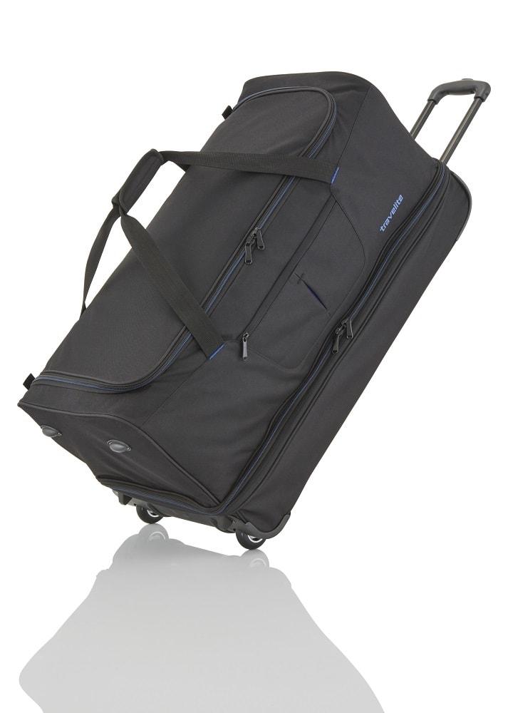 Travelite Cestovní taška Basics Wheeled duffle L Black/blue 98/119 l
