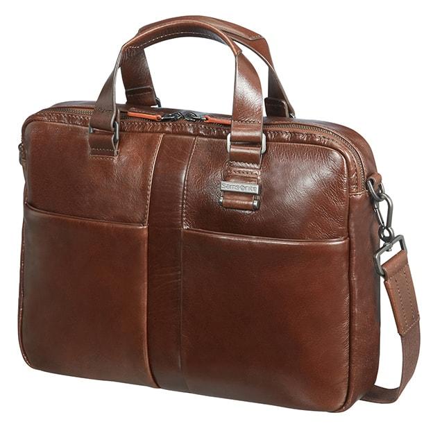 """Samsonite Kožená taška na notebook 14,1"""" West Harbor 70D-004, hnědá 70D-004-03-SAM"""