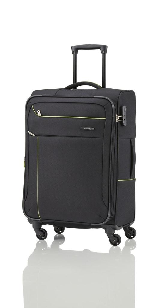 Travelite Cestovní kufr Solaris 4w M Black/lemon 73/83 l