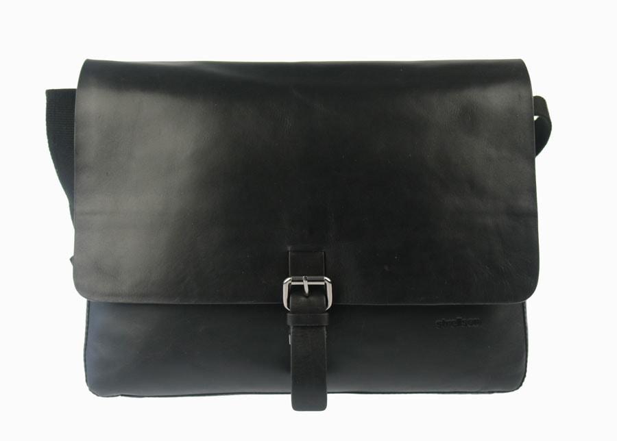 Strellson Pánská kožená taška přes rameno 4010001965, černá