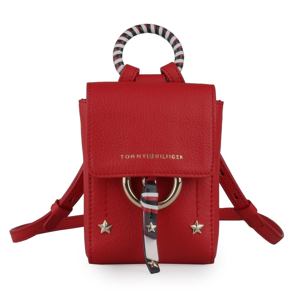 Tommy Hilfiger Dámská kožená crossbody kabelka Heritage AW0AW05724 - červená
