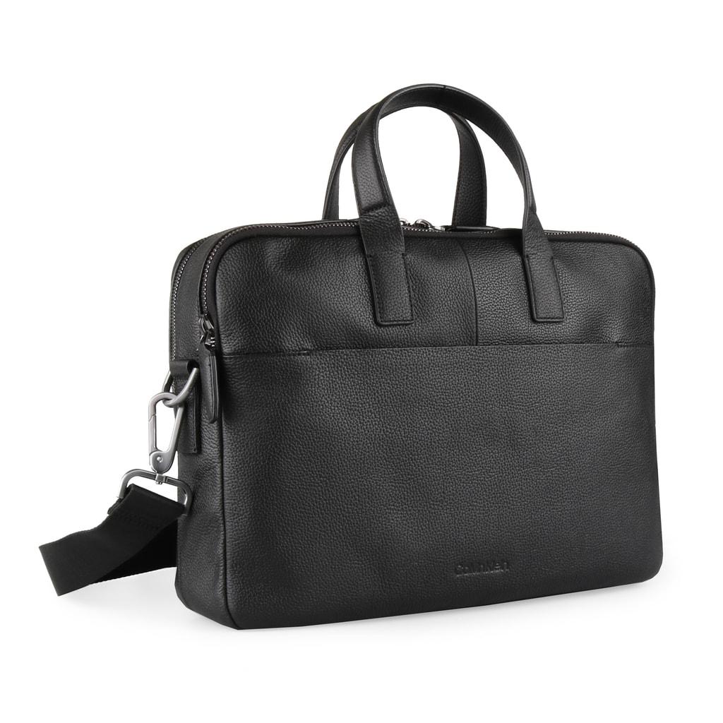 Calvin Klein Pánská kožená taška na notebook Essential K50K503857 - černá
