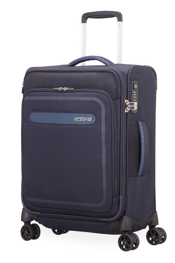 American Tourister Kabinový cestovní kufr AirBeat Spinner EXP 45G 40/43 l - tmavě modrá