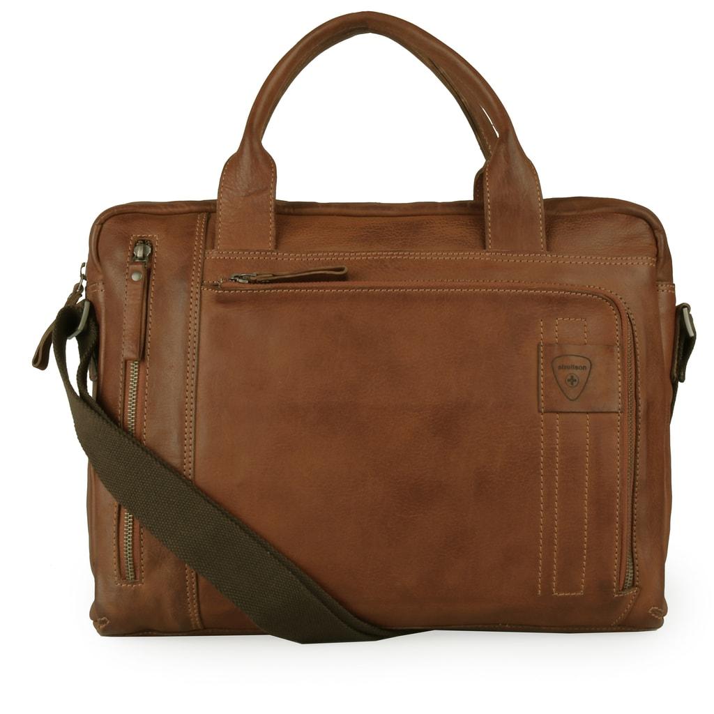 Strellson Pánská kožená taška přes rameno Upminster 4010002588 - koňaková