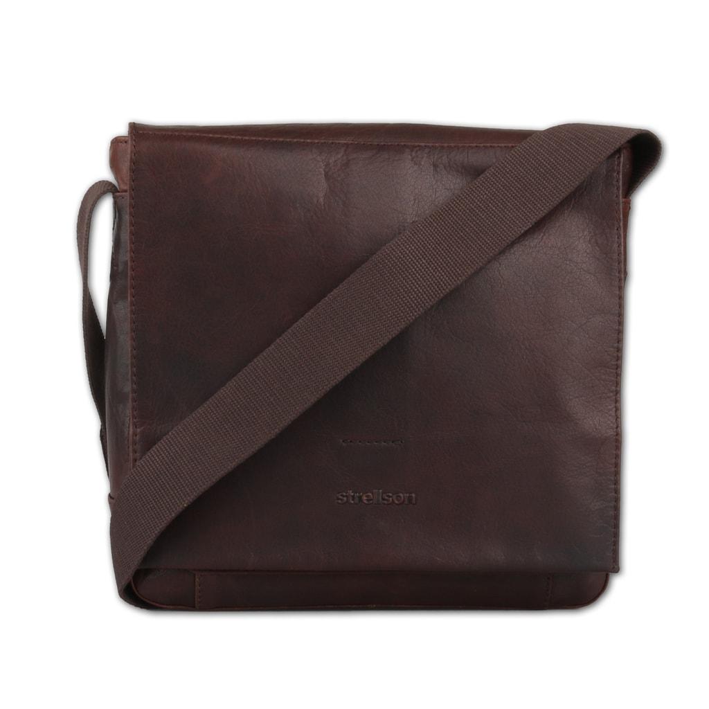 Strellson Pánská kožená taška přes rameno Coleman 4010002313 - tmavě hnědá