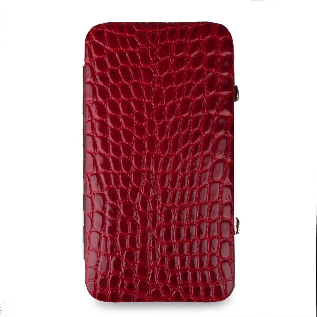 Solingen Kožená sada na manikúra krokodýlí lesklá 713-89 - červená