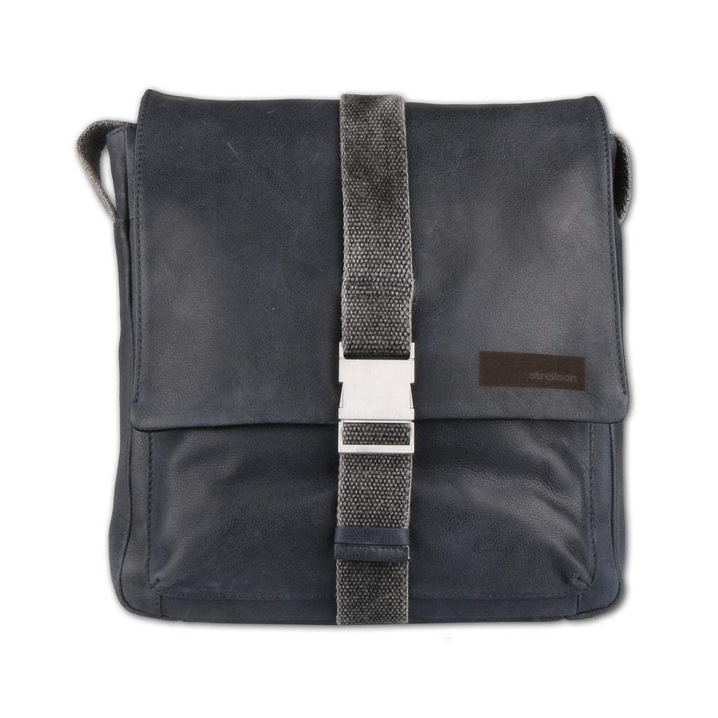 Strellson Pánská kožená taška přes rameno Goldhawk 4010002333 - tmavě modrá