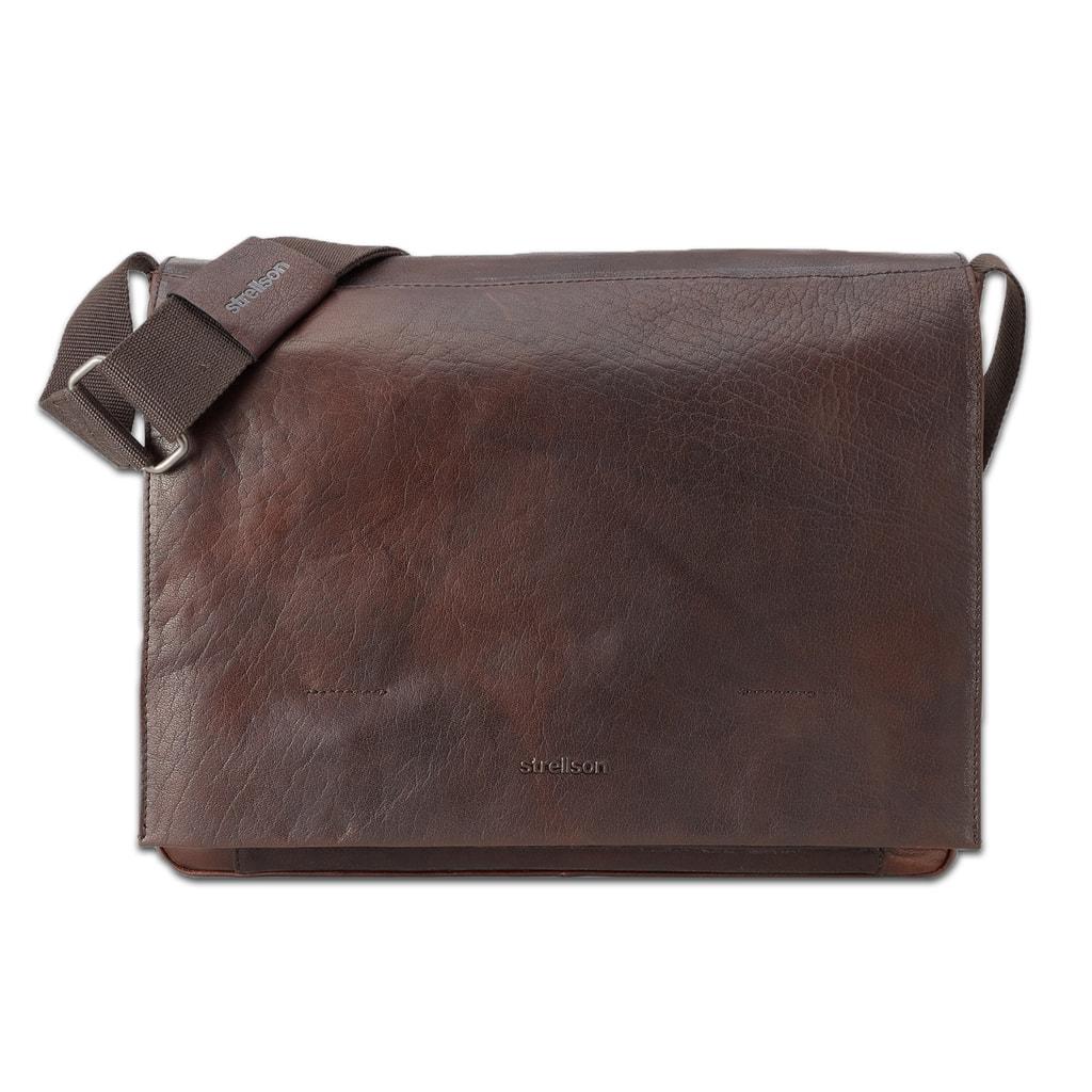 Strellson Pánská kožená taška přes rameno Coleman 4010002311 - tmavě hnědá