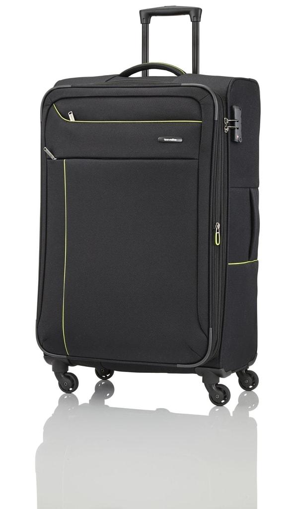 Travelite Cestovní kufr Solaris 4w L Black/lemon 88149-01 102/115 l