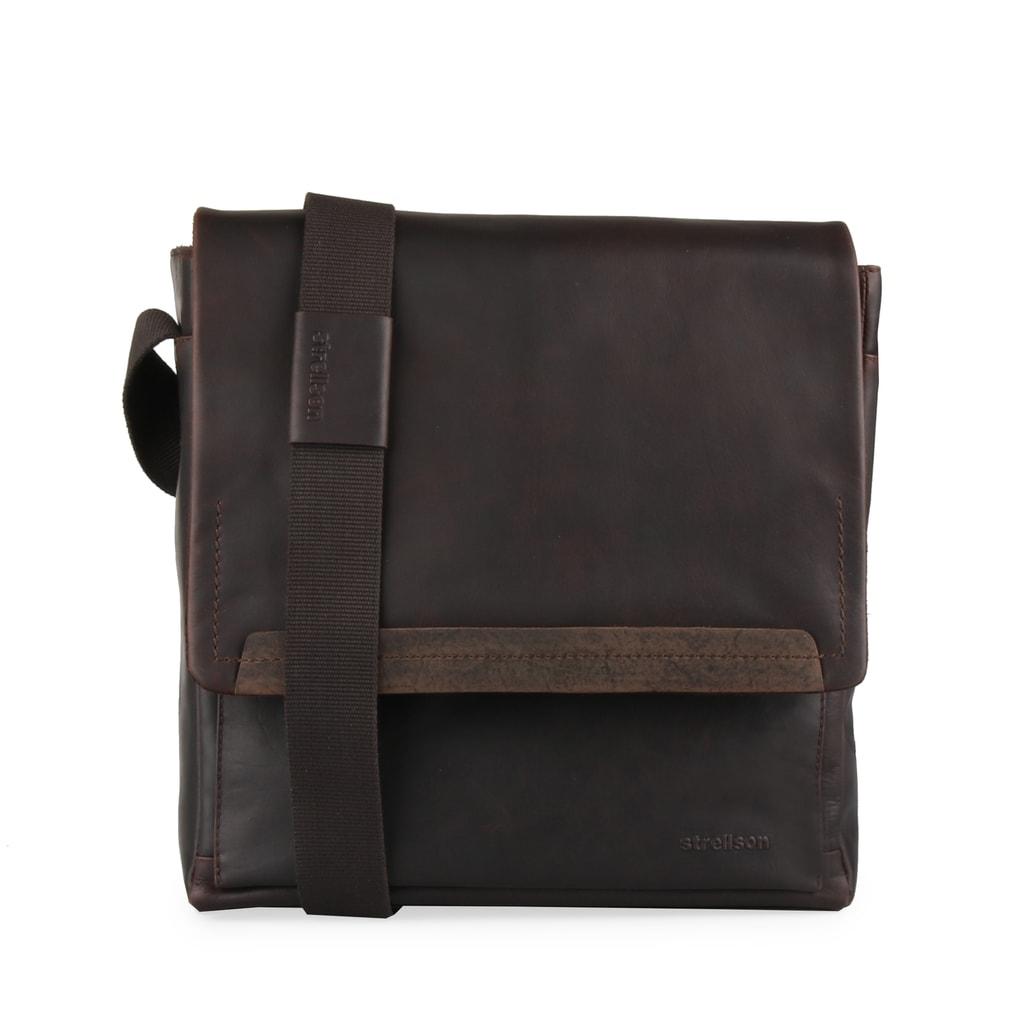 Strellson Pánská kožená taška přes rameno Camden 4010002279 - tmavě hnědá