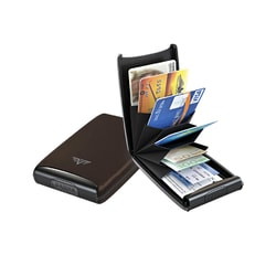 TRU VIRTU, POUZDRO TRU VIRTU CREDIT CARD CASE FAN LEATHER NAPPA BROWN - POUZDRA NA KARTY